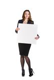 Beautiful young business woman with blank board Royalty Free Stock Photo