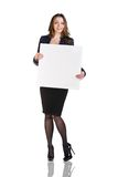 Beautiful young business woman with blank board Stock Photos