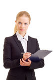 A beautiful young business woman with folder Stock Images