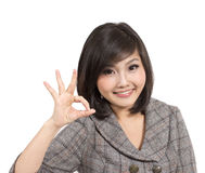 Beautiful young business woman gesturing Royalty Free Stock Photos