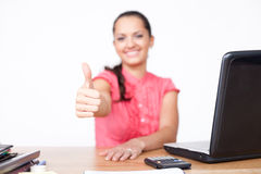 Beautiful young business woman hand make thumbs up Stock Image