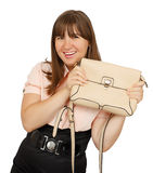 Beautiful young business woman with handbag Royalty Free Stock Images