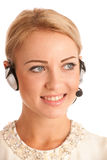 Beautiful young business woman with headset Royalty Free Stock Image