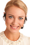 Beautiful young business woman with headset Stock Photo