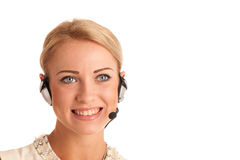Beautiful young business woman with headset Stock Images