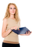Beautiful young business woman holding document on clipboard Royalty Free Stock Photo