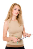 Beautiful young business woman holding document on clipboard Royalty Free Stock Photos