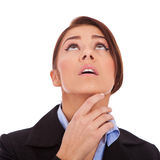 Beautiful young business woman, looking up. Stock Images