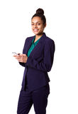 Beautiful young business woman with mobile phone. Portrait of beautiful young business woman with mobile phone against white background Stock Images