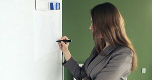 Beautiful young business woman performs financial calculations on presentation whiteboard. Working with papers female