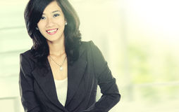 Beautiful young business woman in rush royalty free stock images