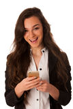 Beautiful young business woman showing a happy note on her smart royalty free stock photos