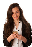 Beautiful young business woman showing a happy note on her smart stock photos