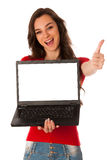 Beautiful young business woman showing laptop with screen for co. Mmercial isolated over white Stock Photography