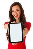 Beautiful young business woman showing tablet with screen for co Royalty Free Stock Image