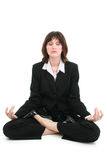 Beautiful Young Business Woman In Suit Meditating stock photo