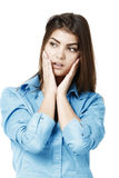 Beautiful young business woman thinking against Stock Images
