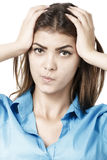beautiful young business woman thinking against Royalty Free Stock Photo