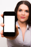 Beautiful Young Business Women With Iphone Mobile Device Royalty Free Stock Image