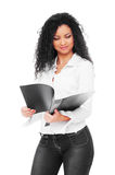 Beautiful young businesswoman with folder Stock Photo