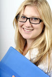 Beautiful young businesswoman with glasses Royalty Free Stock Photography