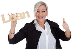 Beautiful young businesswoman is happy with loan Stock Photos
