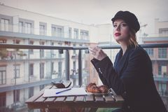 Beautiful young businesswoman have a coffee break Royalty Free Stock Photo