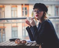Beautiful young businesswoman have a coffee break Stock Photos