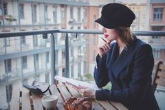 Beautiful young businesswoman have a coffee break Stock Images