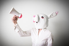 Beautiful young businesswoman mask rabbit megaphone Royalty Free Stock Photography