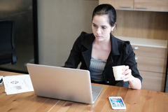 Beautiful young businesswoman is working a presentation. Of the project concept Royalty Free Stock Images