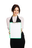 Beautiful young businesswoman with a worksheet. White background Royalty Free Stock Photo