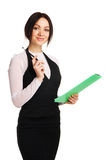 Beautiful young businesswoman with a worksheet. White background Stock Images