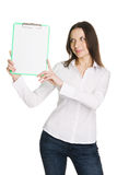 Beautiful young businesswoman with a worksheet Stock Photos