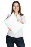 Beautiful young businesswoman with a worksheet Royalty Free Stock Photography