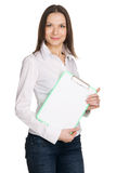 Beautiful young businesswoman with a worksheet Stock Photo