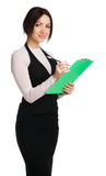 Beautiful young businesswoman with a worksheet. White background Stock Photo