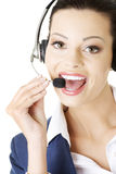 Beautiful young call-center assistant Royalty Free Stock Images