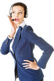 Beautiful young call-center assistant Royalty Free Stock Image