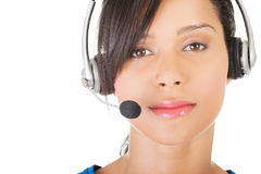 Beautiful young call-center assistant smiling Royalty Free Stock Photos