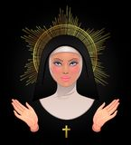 Beautiful young catholic nun with golden halo, open blessing han vector illustration