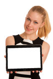 Beautiful young caucasian business woman with blond hair working Stock Image