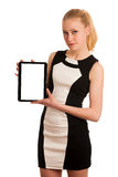 Beautiful young caucasian business woman with blond hair working Stock Photo