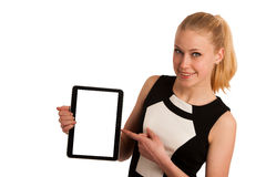 Beautiful young caucasian business woman with blond hair working Royalty Free Stock Images