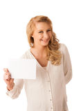 Beautiful young caucasian business woman holding a blank white b Stock Photography