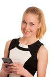Beautiful young caucasian business woman with smartphone communi Stock Photos