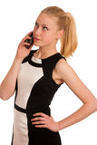 Beautiful young caucasian business woman with smartphone communi Royalty Free Stock Images
