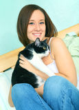 Beautiful Young Caucasian Female With Cute Cat Stock Image
