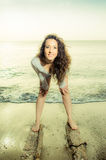 Beautiful young caucasian girl at the beach Stock Photography