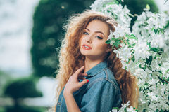 Beautiful young Caucasian girl with curly hair Stock Photography
